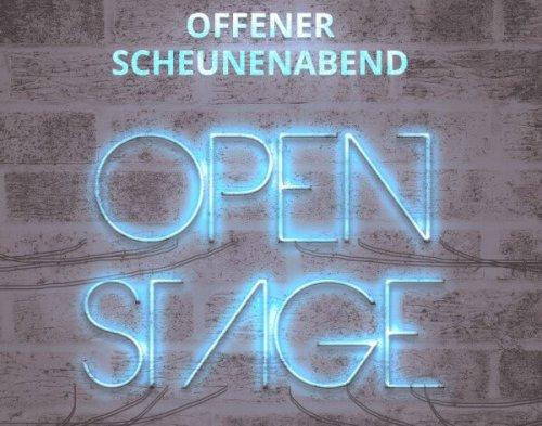 Ein Schild Open Stage für Christels Scheune