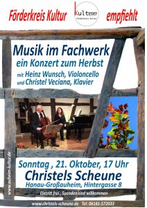 Plakat Herbstkonzert in Christels Scheune Christel Veciana und Heinz Wunsch