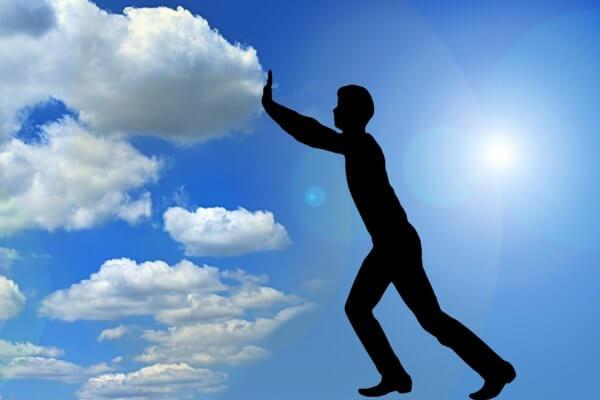 positiv denken - Wolken wegschieben, Christels Scheune Hanau, Coaching, Training