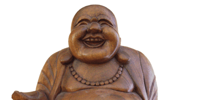 lächelnder Buddha Symbol gegen Stress, Christels Scheune Hanau